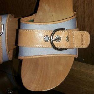 Coach Saddle Leather Wooden Clog sandals